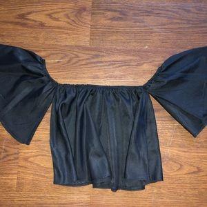 Romwe, black off the shoulder blouse
